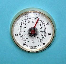 Thermometer - Thermometer - N50 Thermometer 50mm Gold Plastic Bezel White Dial Stick on Dial Thermometer with adhesive pad.